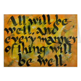 """""""All Will Be Well"""" Expressive Brush Calligraphy Card"""