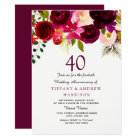 All Years Burgundy Floral 40th Wedding Anniversary Card