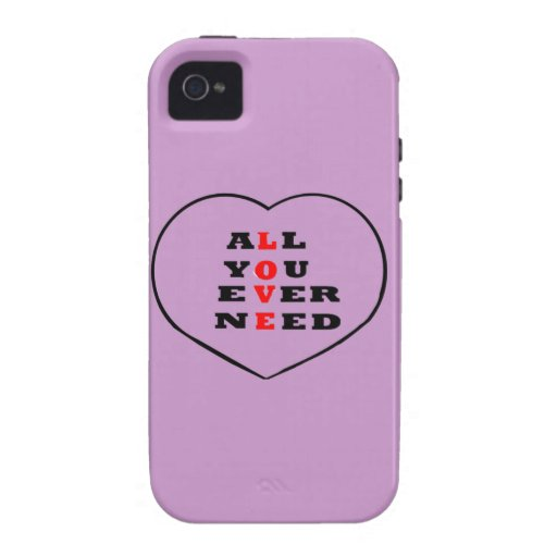 All You Ever Need Love, in a heart, Case-Mate iPhone 4 Covers