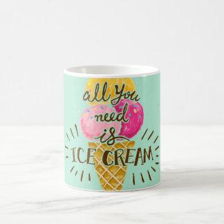 All you need is ice cream typography vintage art coffee mug