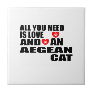 ALL YOU NEED IS LOVE AEGEAN CAT DESIGNS CERAMIC TILE