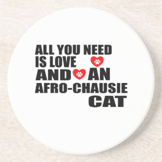 ALL YOU NEED IS LOVE AFRO-CHAUSIE CAT DESIGNS COASTER