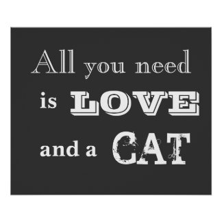 All you need is love...and a cat chalk art poster