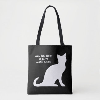 All you need is love and a cat cute black tote bag