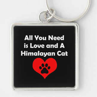 All You Need is Love and A Himalayan Cat Silver-Colored Square Key Ring
