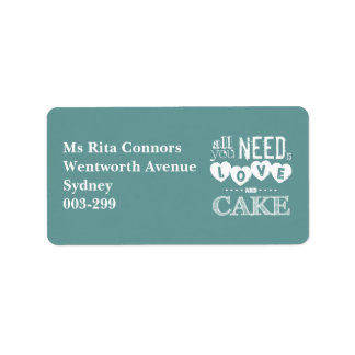 All You Need is Love and Cake Address Label