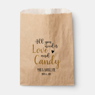 All You Need Is Love and Candy Black and Gold Favour Bag