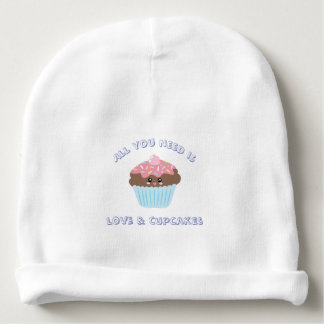 All You Need Is Love And Cupcakes Pastel Colors Baby Beanie