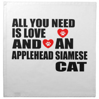 ALL YOU NEED IS LOVE APPLEHEAD SIAMESE CAT DESIGNS NAPKIN