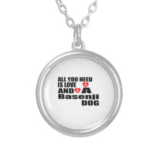 ALL YOU NEED IS LOVE Basenji DOGS DESIGNS Silver Plated Necklace