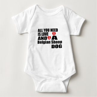 ALL YOU NEED IS LOVE Belgian Sheepdog DESIGNS Baby Bodysuit