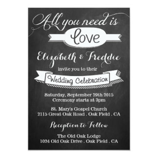 All You Need Is Love Chalkboard Wedding Collection 13 Cm X 18 Cm Invitation Card