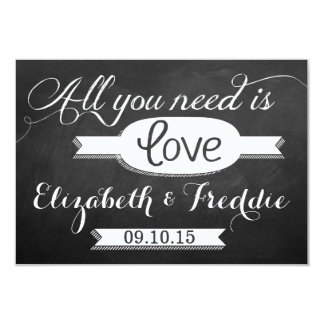 All You Need Is Love Chalkboard Wedding Collection 9 Cm X 13 Cm Invitation Card