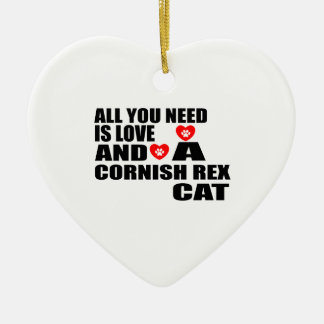 ALL YOU NEED IS LOVE CORNISH REX CAT DESIGNS CERAMIC ORNAMENT