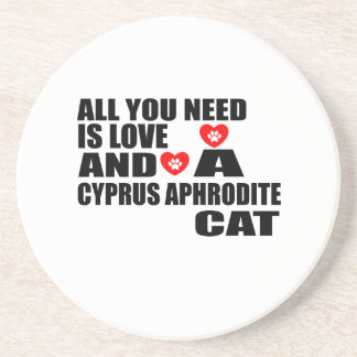 ALL YOU NEED IS LOVE CYPRUS APHRODITE CAT DESIGNS COASTER