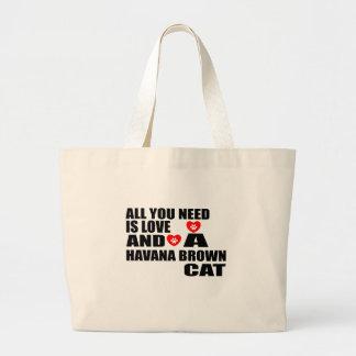 ALL YOU NEED IS LOVE HAVANA BROWN CAT DESIGNS LARGE TOTE BAG