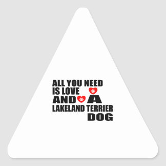 ALL YOU NEED IS LOVE LAKELAND TERRIER DOGS DESIGNS TRIANGLE STICKER