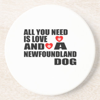 ALL YOU NEED IS LOVE NEWFOUNDLAND DOGS DESIGNS COASTER