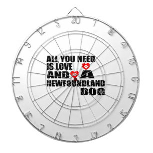 ALL YOU NEED IS LOVE NEWFOUNDLAND DOGS DESIGNS DARTBOARD