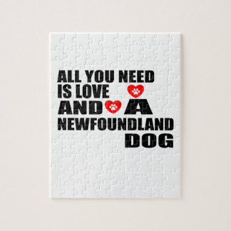 ALL YOU NEED IS LOVE NEWFOUNDLAND DOGS DESIGNS JIGSAW PUZZLE