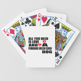 ALL YOU NEED IS LOVE PEMBROKE WELSH CORGI DOGS DES BICYCLE PLAYING CARDS