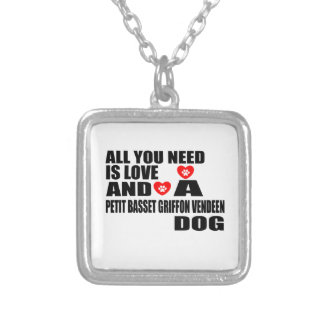 ALL YOU NEED IS LOVE PETIT BASSET GRIFFON VENDEEN SILVER PLATED NECKLACE