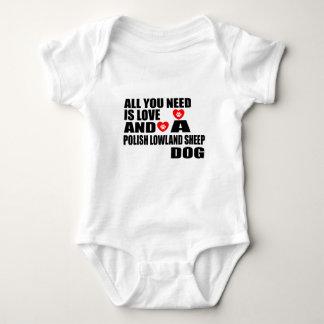 ALL YOU NEED IS LOVE POLISH LOWLAND SHEEPDOG DESIG BABY BODYSUIT