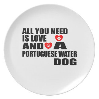 ALL YOU NEED IS LOVE PORTUGUESE WATER DOG DOGS DES PLATE