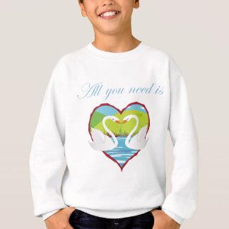 all you need is love swans sweatshirt