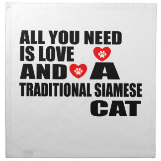 ALL YOU NEED IS LOVE TRADITIONAL SIAMESE CAT DESIG NAPKIN