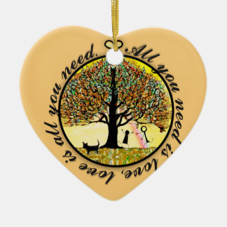 All you need is love tree of life ceramic ornament