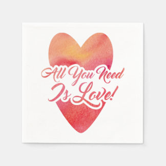 All You Need Is Love Watercolor for Anniversary Disposable Serviette