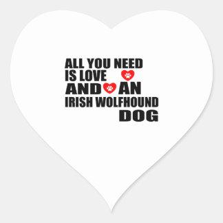 All You Need Love IRISH WOLFHOUND Dogs Designs Heart Sticker