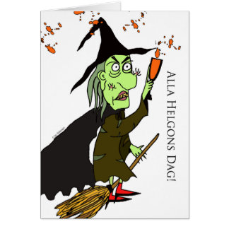 Alla Helgons Dag, Swedish Halloween, Green Witch Card