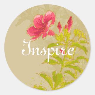 Allamanda Flower On Toned Background Round Sticker