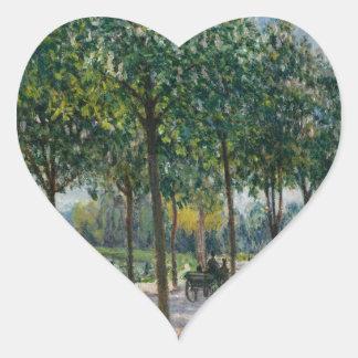 Allée of Chestnut Trees - Alfred Sisley Heart Sticker