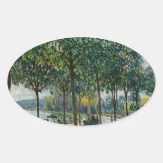 Allée of Chestnut Trees - Alfred Sisley Oval Sticker