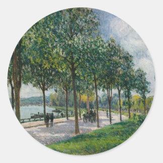 Allée of Chestnut Trees - Alfred Sisley Round Sticker