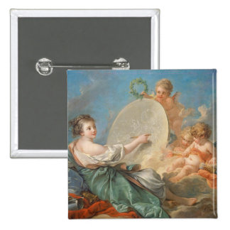 Allegory of Painting, 1765 (oil on canvas) 15 Cm Square Badge