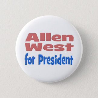 Allen West for President Button, pink & blue 6 Cm Round Badge