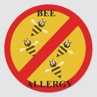 Allergic to bees classic round sticker