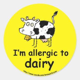 Allergic to Dairy Classic Round Sticker