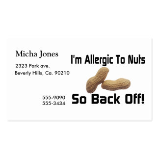 Allergic To Nuts So Back Off Pack Of Standard Business Cards