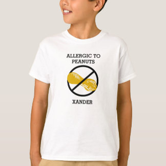 Allergic to Peanuts Personalized Kids No Peanut T-Shirt