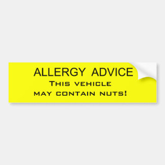 Allergy Advice Bumper Sticker