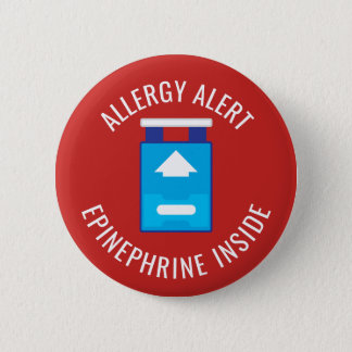 Allergy Alert Epinephrine Inside Medical Kids 6 Cm Round Badge