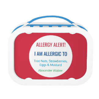 Allergy Alert Kids Personalized Red Allergic To Lunch Box
