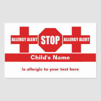 Allergy Medical Alert Custom Sticker