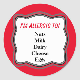 Allergy Warning Alert Classic Round Sticker