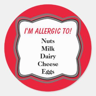 Allergy Warning Alert Round Sticker